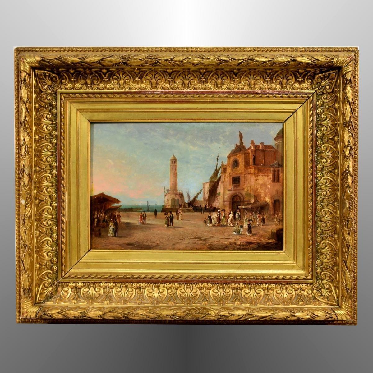 Port animé en Italie XIXème
