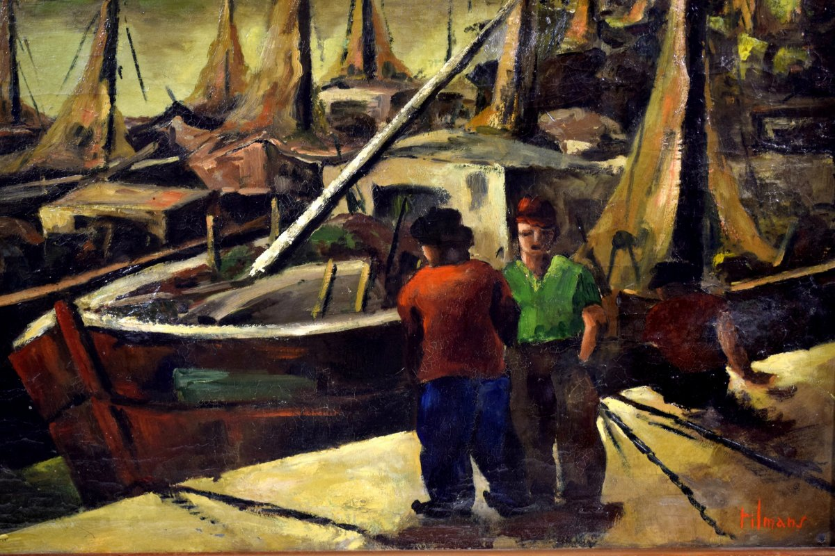 Fishing Port By Emile-henry Tilmans 1949-photo-4