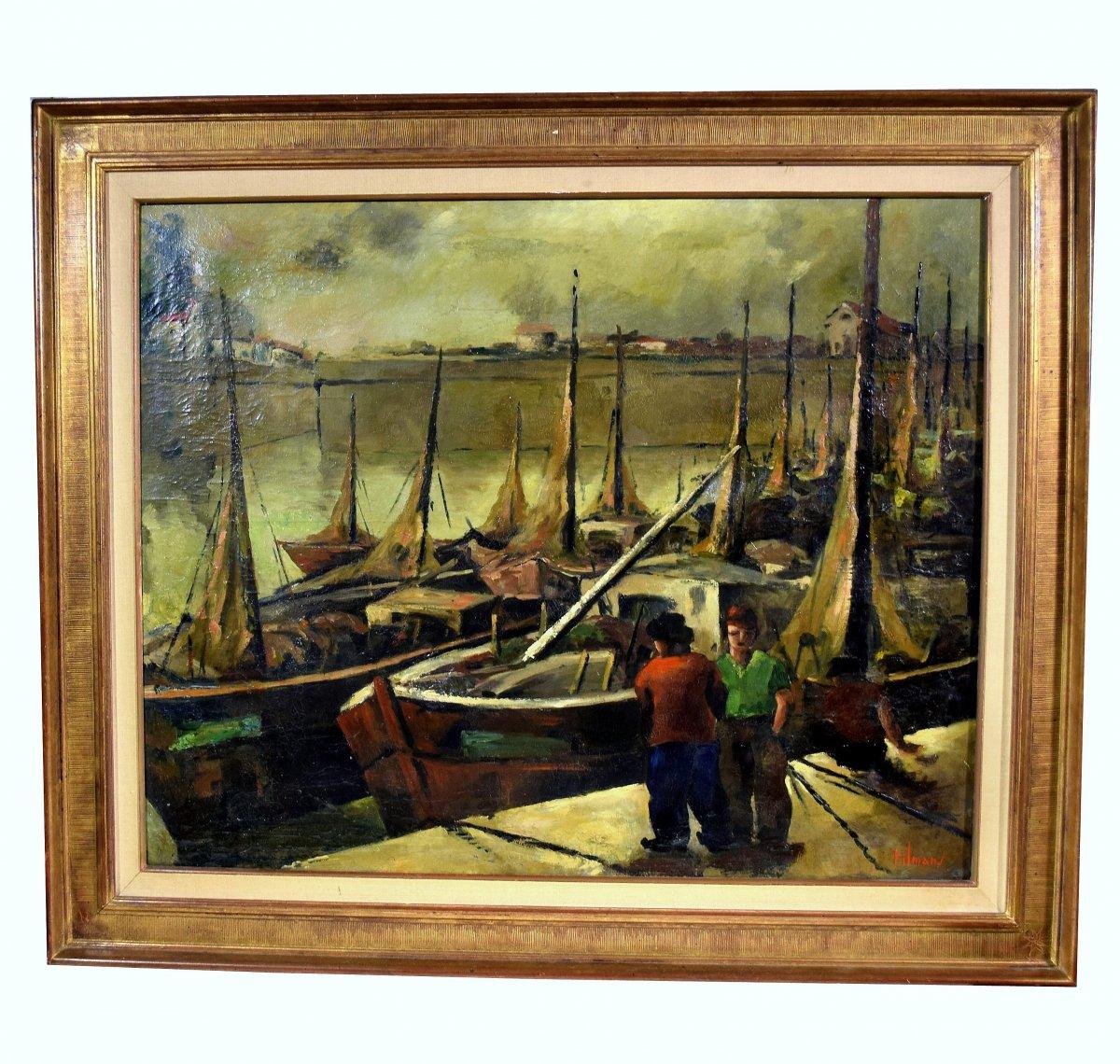 Fishing Port By Emile-henry Tilmans 1949