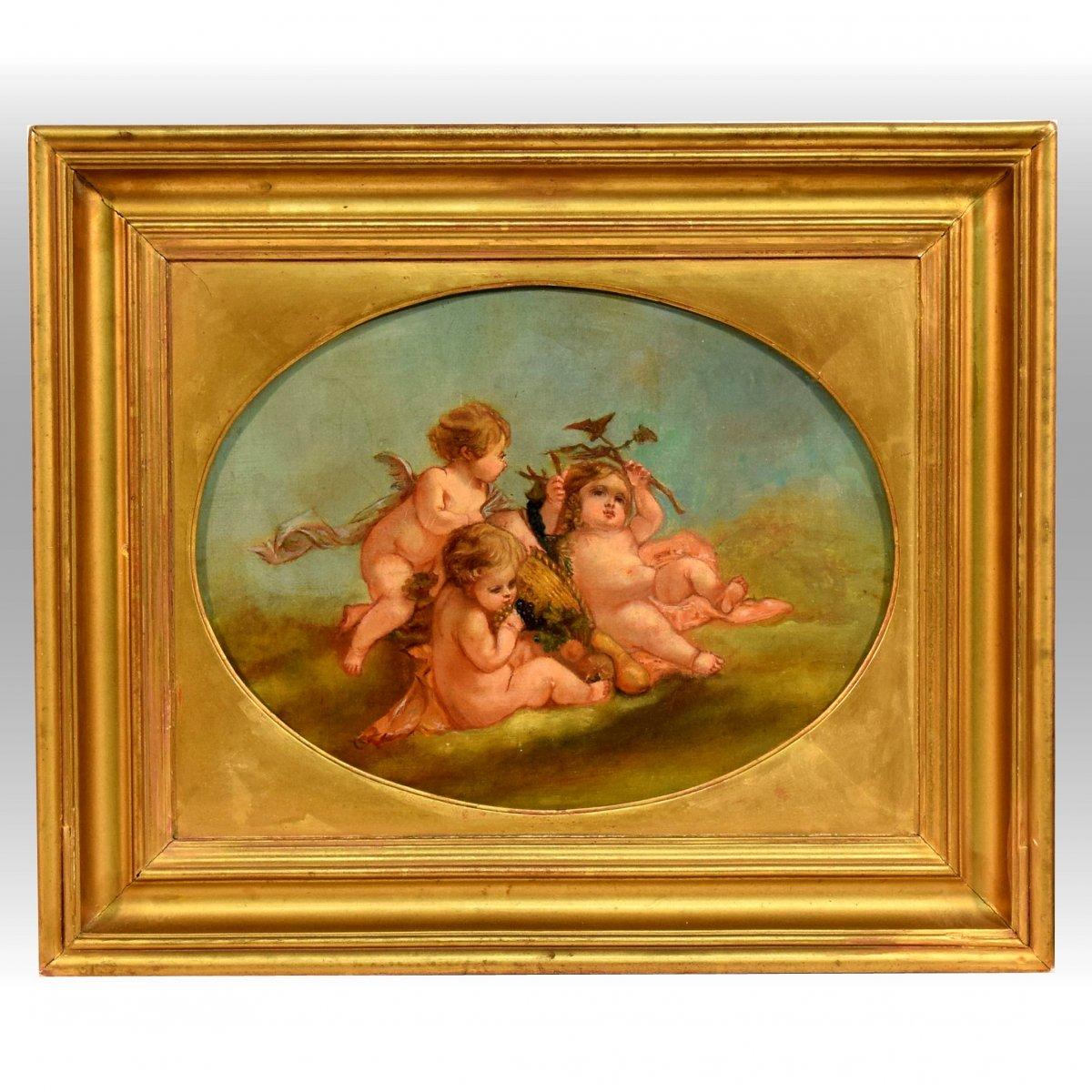 Bacchus enfant et angelots XIXème