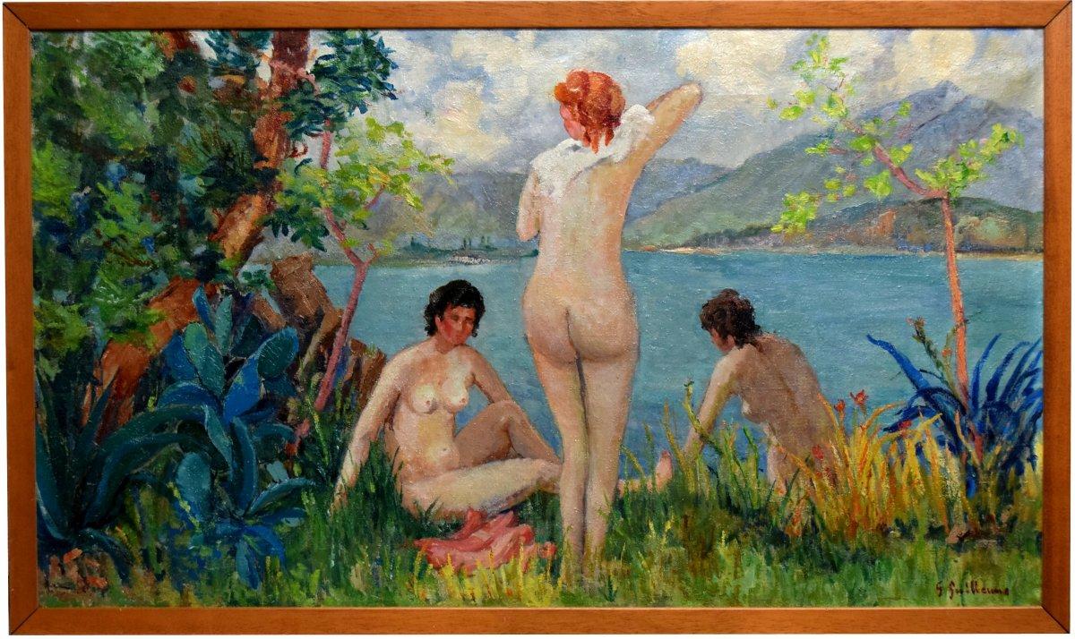 Au bord du Lac du Bourget signé G.Guillaume