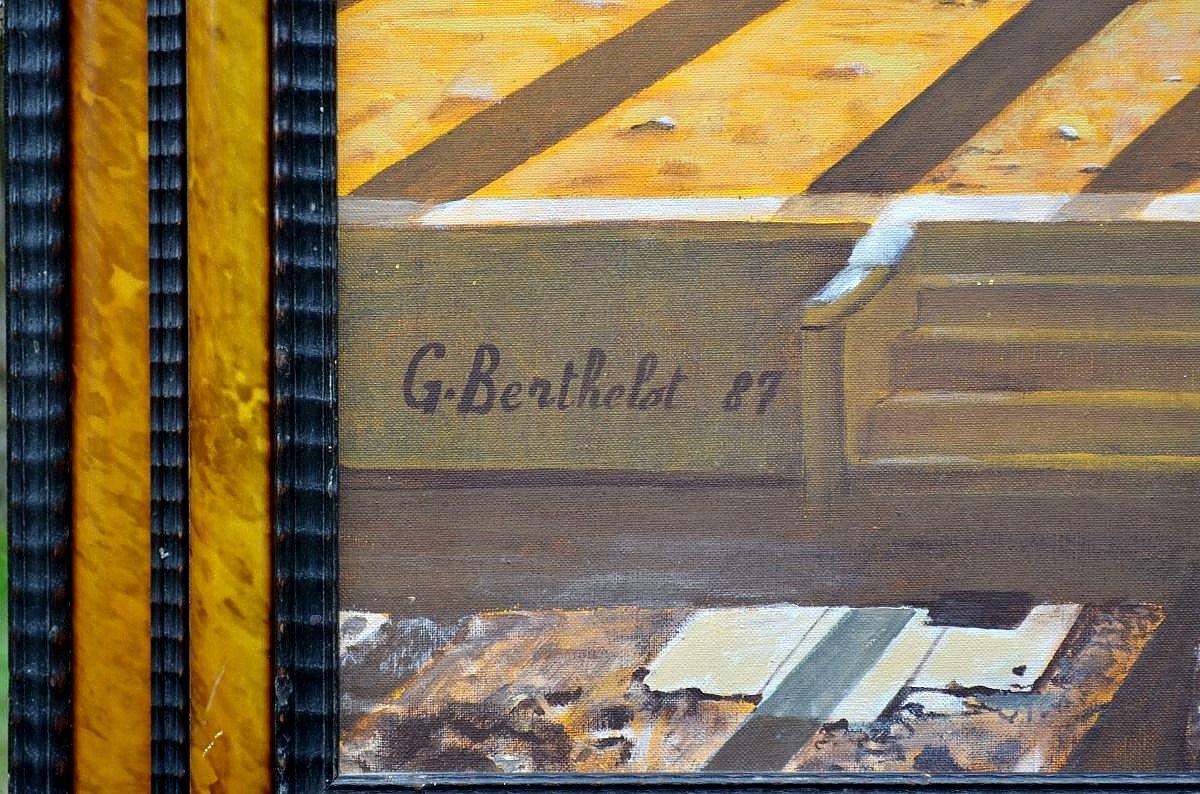 Grande peinture métaphysique par Georges Berthelot-photo-4