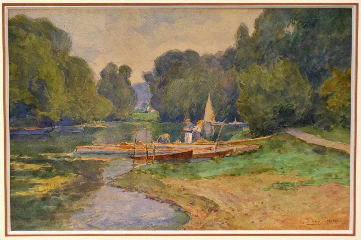 Au bord de l'Oise, Auvers-sur-Oise, par Achille Mohrien (1873-1945)-photo-2