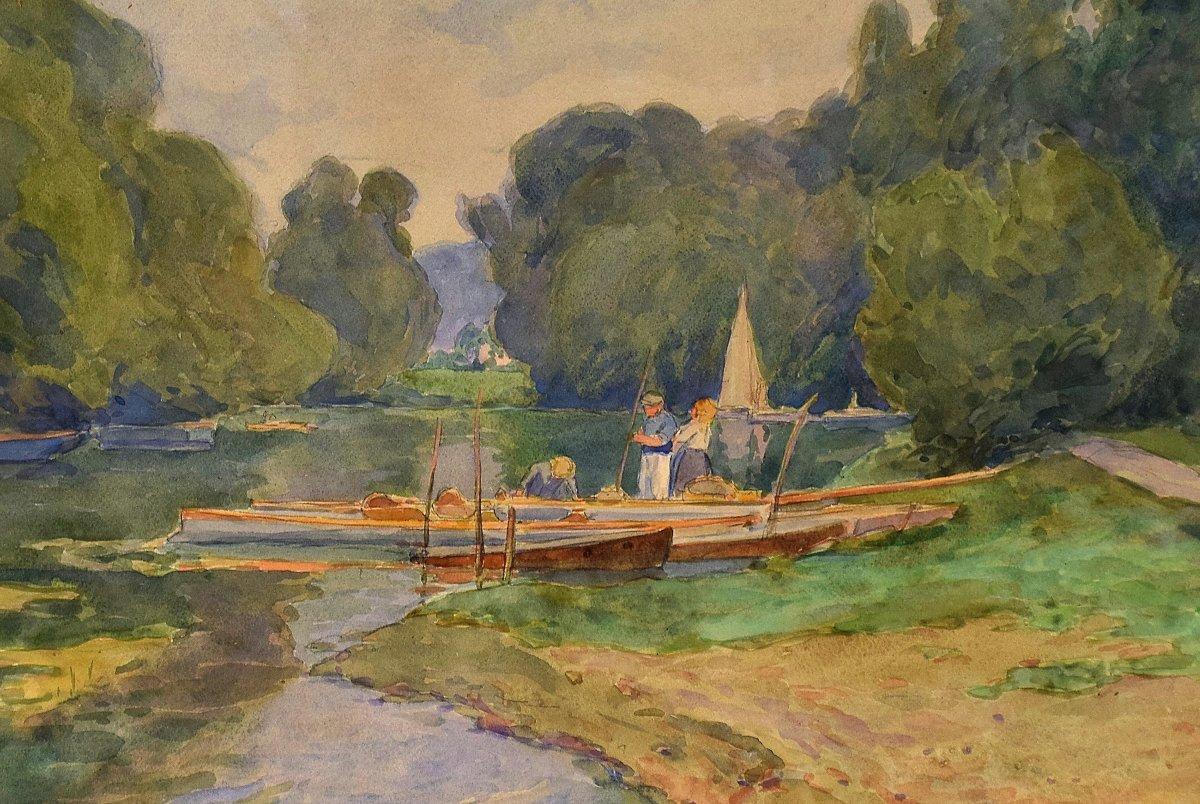 Au bord de l'Oise, Auvers-sur-Oise, par Achille Mohrien (1873-1945)-photo-4