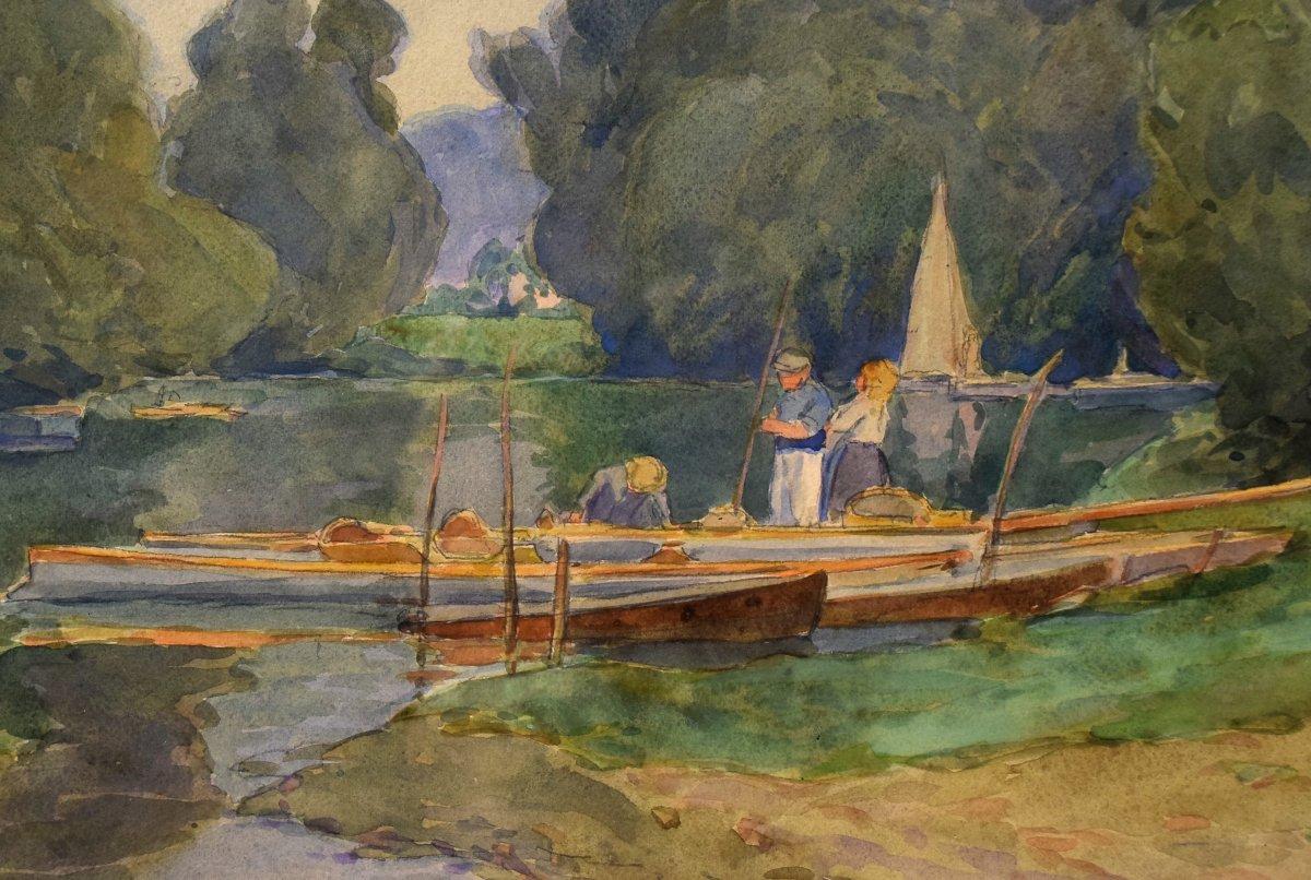 Au bord de l'Oise, Auvers-sur-Oise, par Achille Mohrien (1873-1945)-photo-1