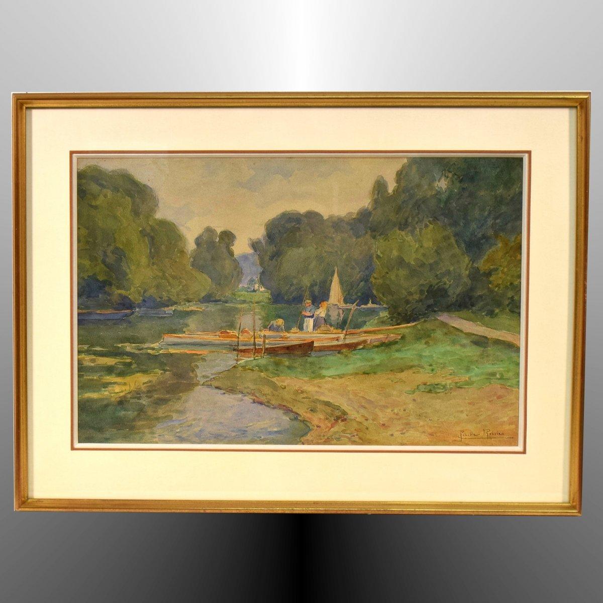 Au bord de l'Oise, Auvers-sur-Oise, par Achille Mohrien (1873-1945)