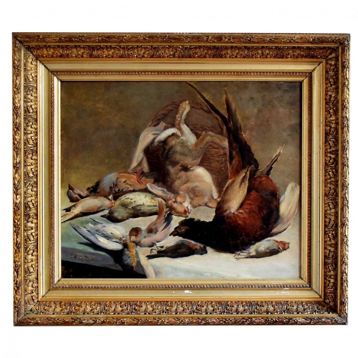 Grande nature morte au gibier par J.M. Reynaud XIXè