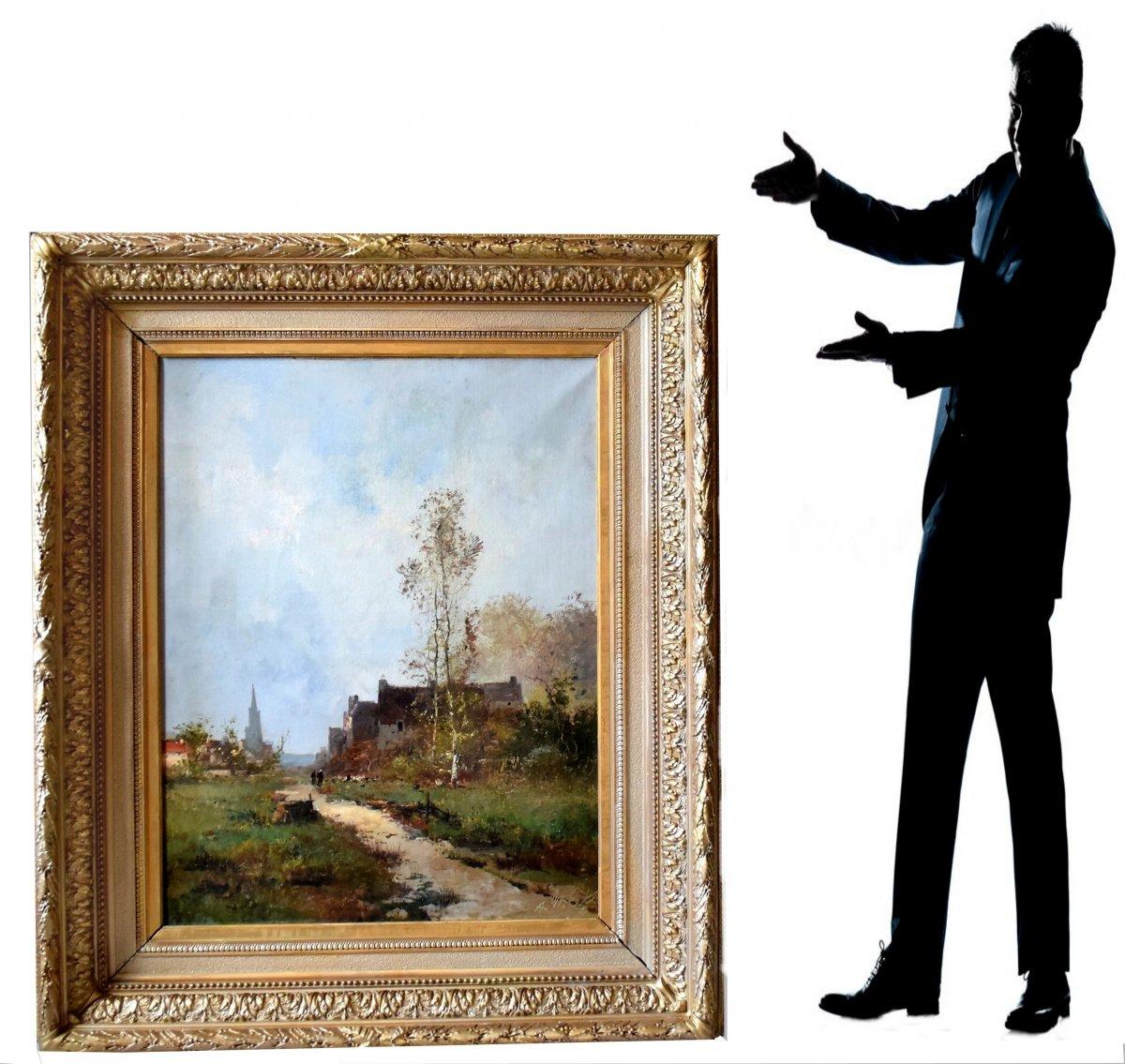 Grande peinture Entrée de village par Albert Nolet XIXè