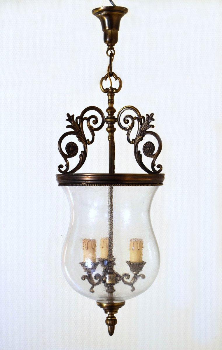 Lanterne de vestibule en laiton et verre