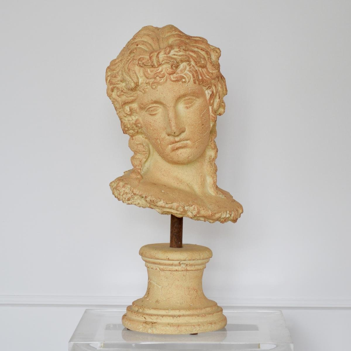 Grande Sculpture Tête de Femme à l'Antique Terre cuite Par Michel Cayla-photo-2