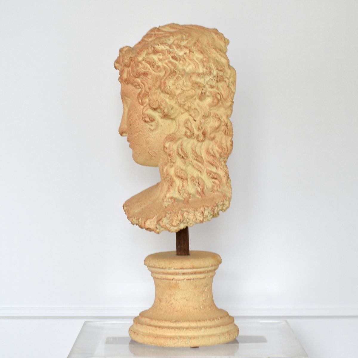 Grande Sculpture Tête de Femme à l'Antique Terre cuite Par Michel Cayla-photo-3