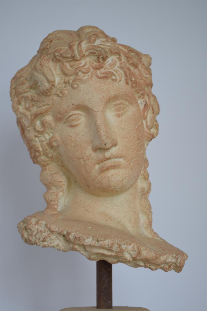 Grande Sculpture Tête de Femme à l'Antique Terre cuite Par Michel Cayla-photo-4
