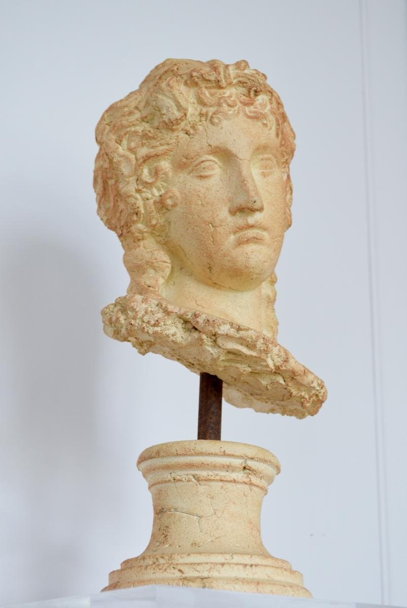 Grande Sculpture Tête de Femme à l'Antique Terre cuite Par Michel Cayla-photo-5