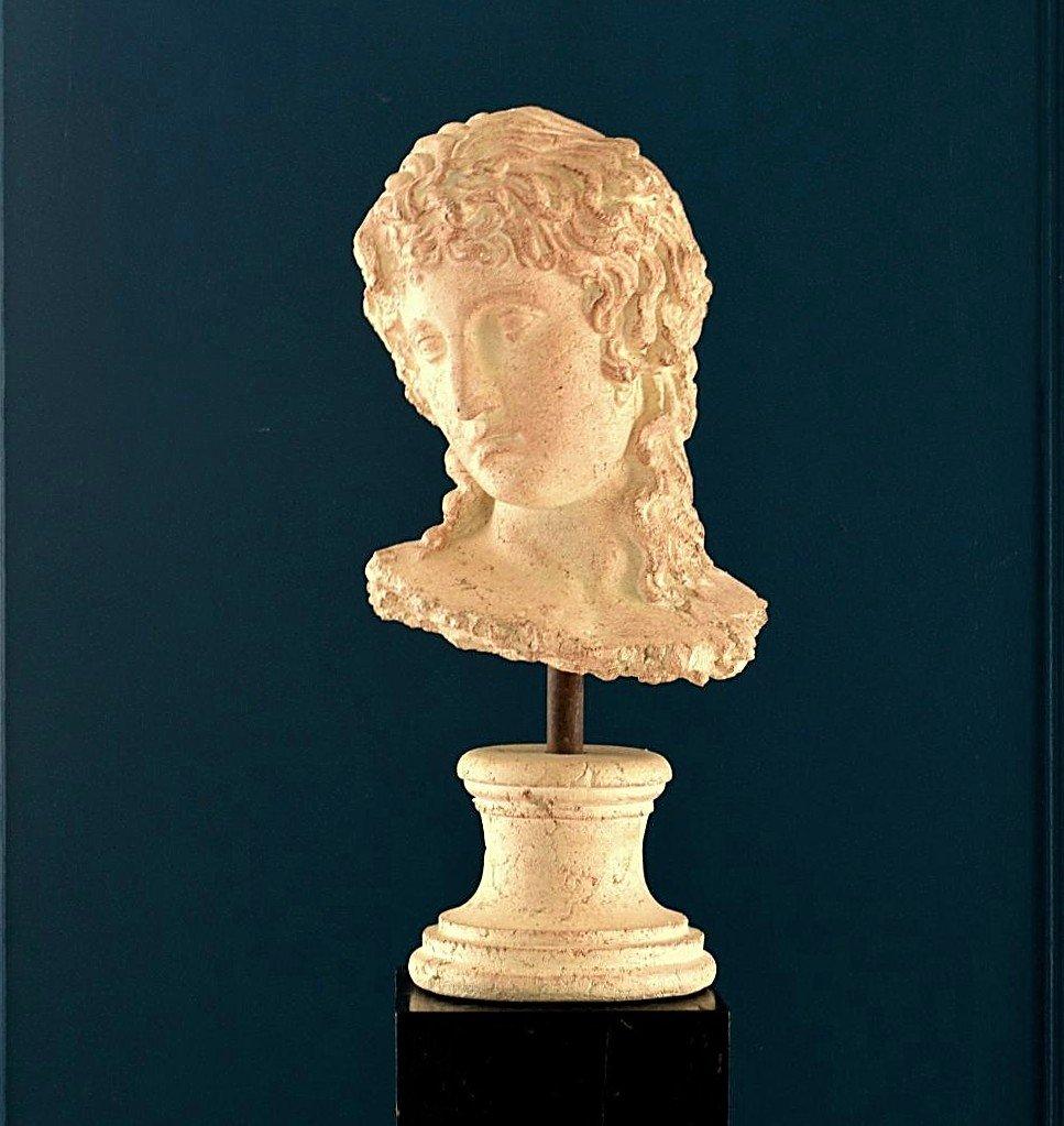 Grande Sculpture Tête de Femme à l'Antique Terre cuite Par Michel Cayla-photo-6