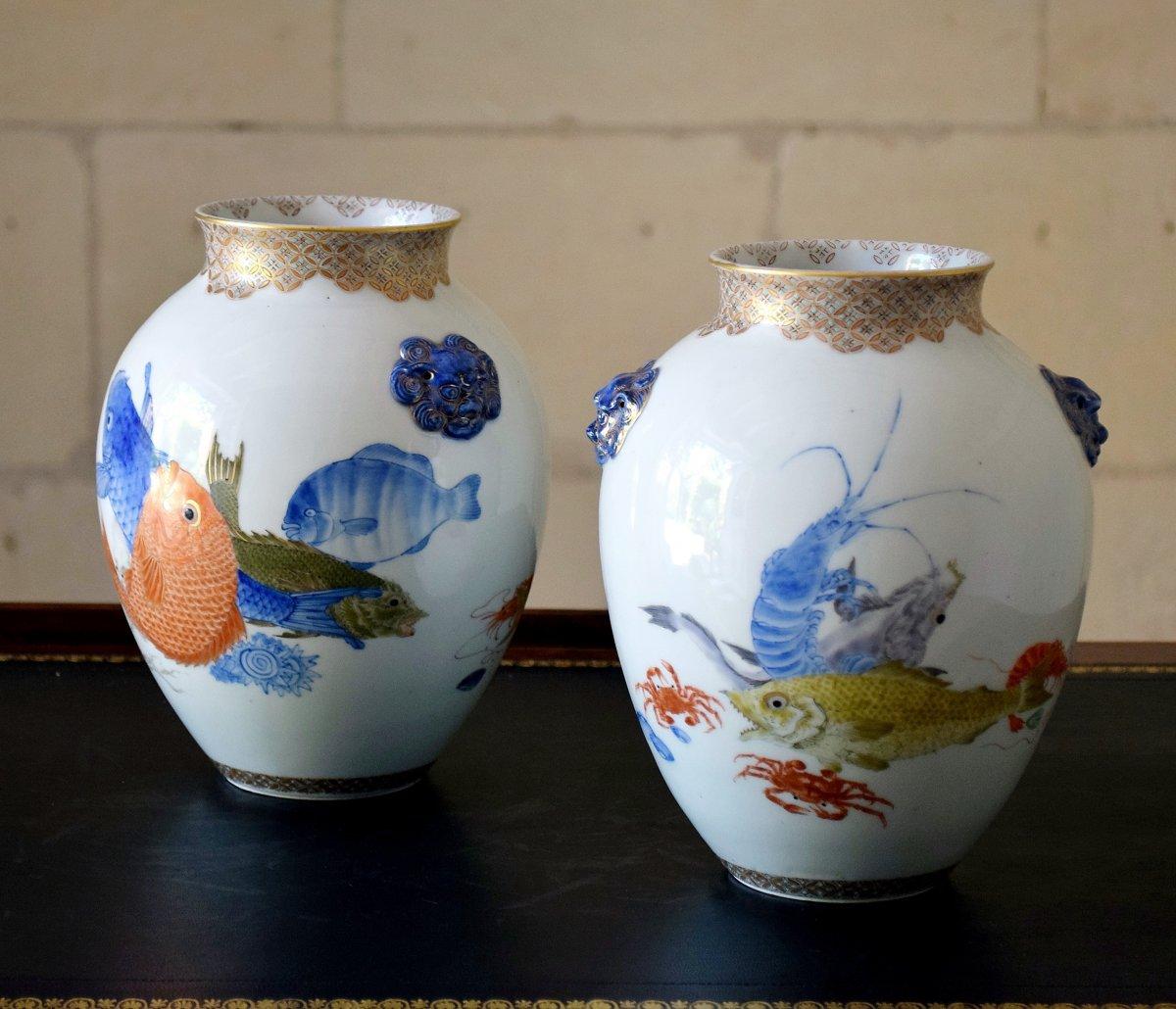 Paire de vases Japonais en porcelaine polychromée