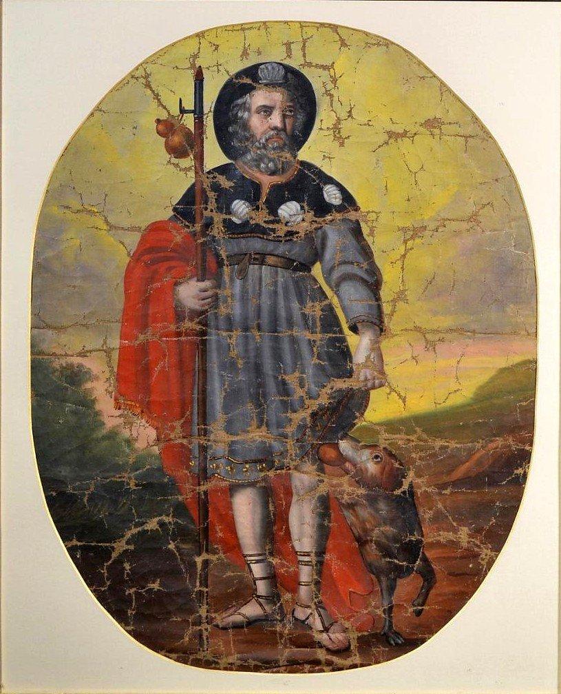 Huile sur toile Pèlerin Saint-Roch XVIIIè-photo-2
