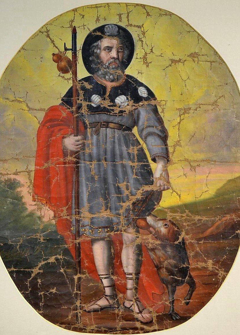 Huile sur toile Pèlerin Saint-Roch XVIIIè-photo-3