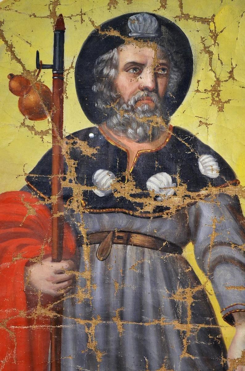 Huile sur toile Pèlerin Saint-Roch XVIIIè-photo-4