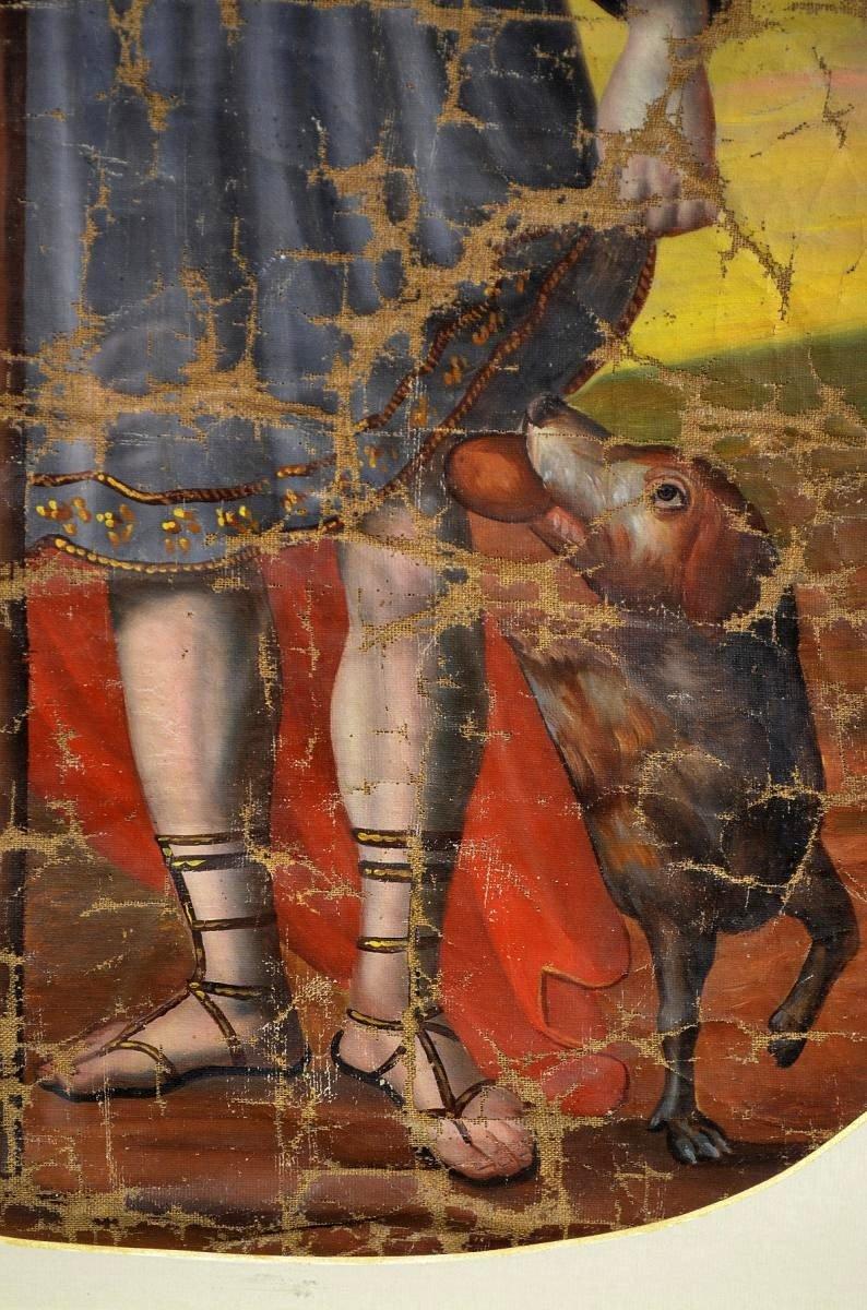 Huile sur toile Pèlerin Saint-Roch XVIIIè-photo-1