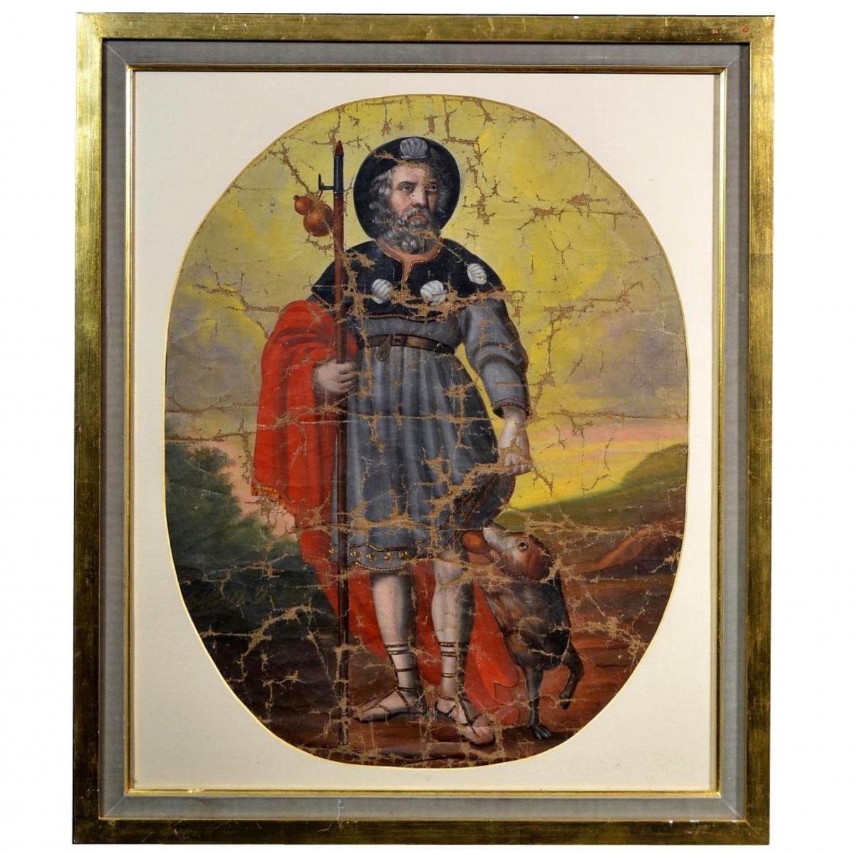 Huile sur toile Pèlerin Saint-Roch XVIIIè