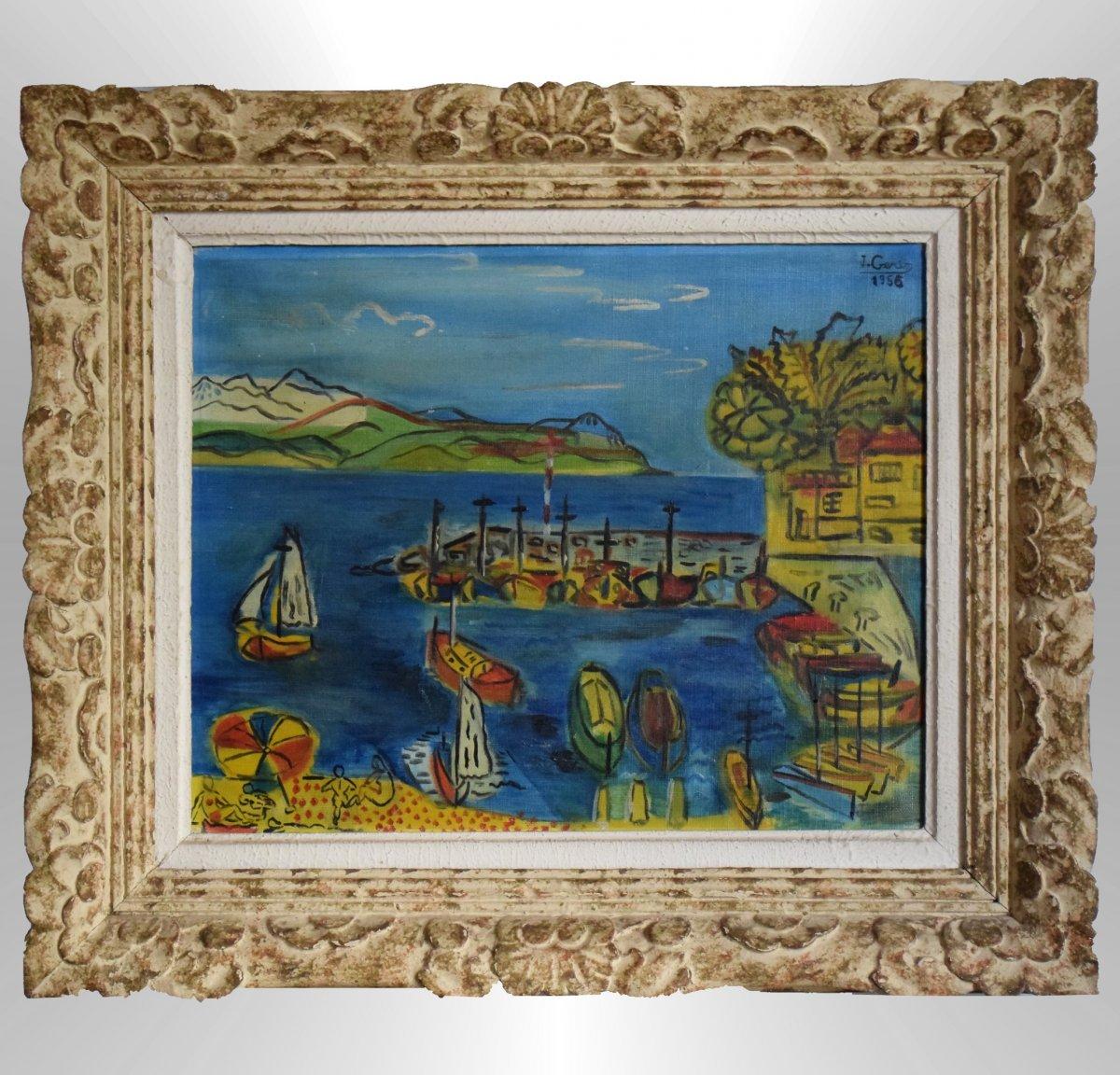 Plage Et Port Méditerranéen Par Jean Gerin 1956