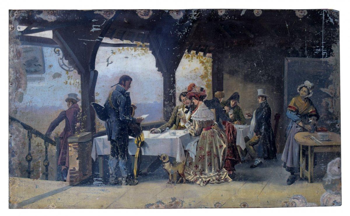 """""""A la bonne friture"""" Peinture XIXème"""