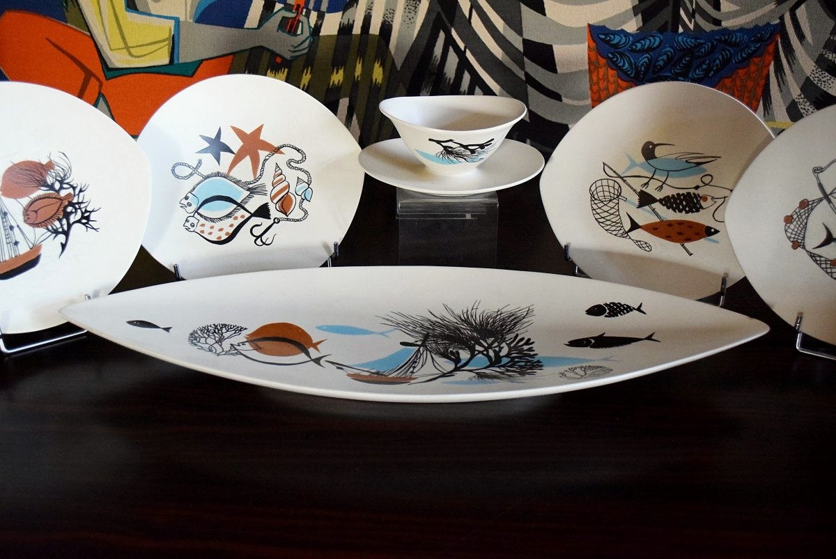 Service à poisson Faïence de Salins Design années 50-photo-1