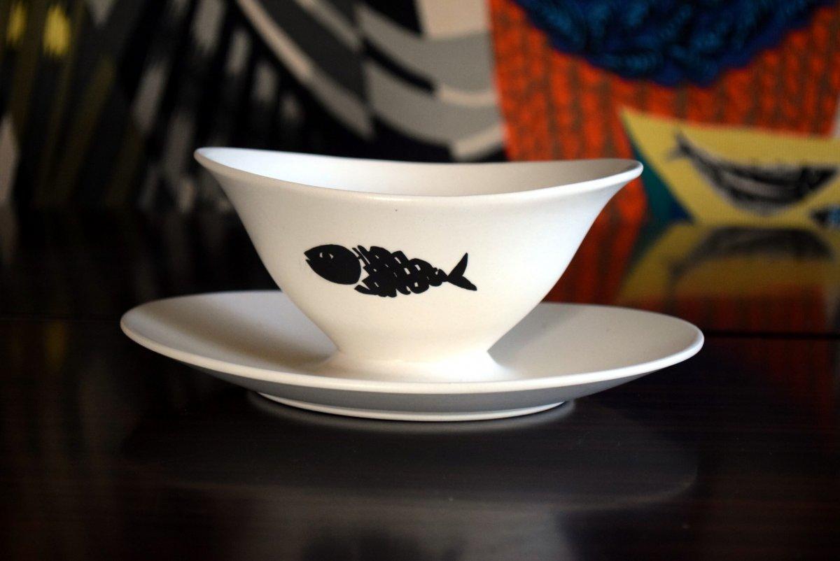 Service à poisson Faïence de Salins Design années 50-photo-3