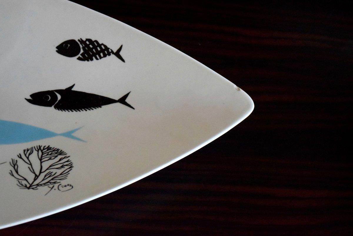 Service à poisson Faïence de Salins Design années 50-photo-6