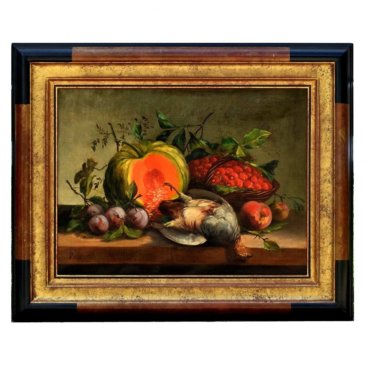 Nature morte à la perdrix, au potiron et aux fruits, datée 1886