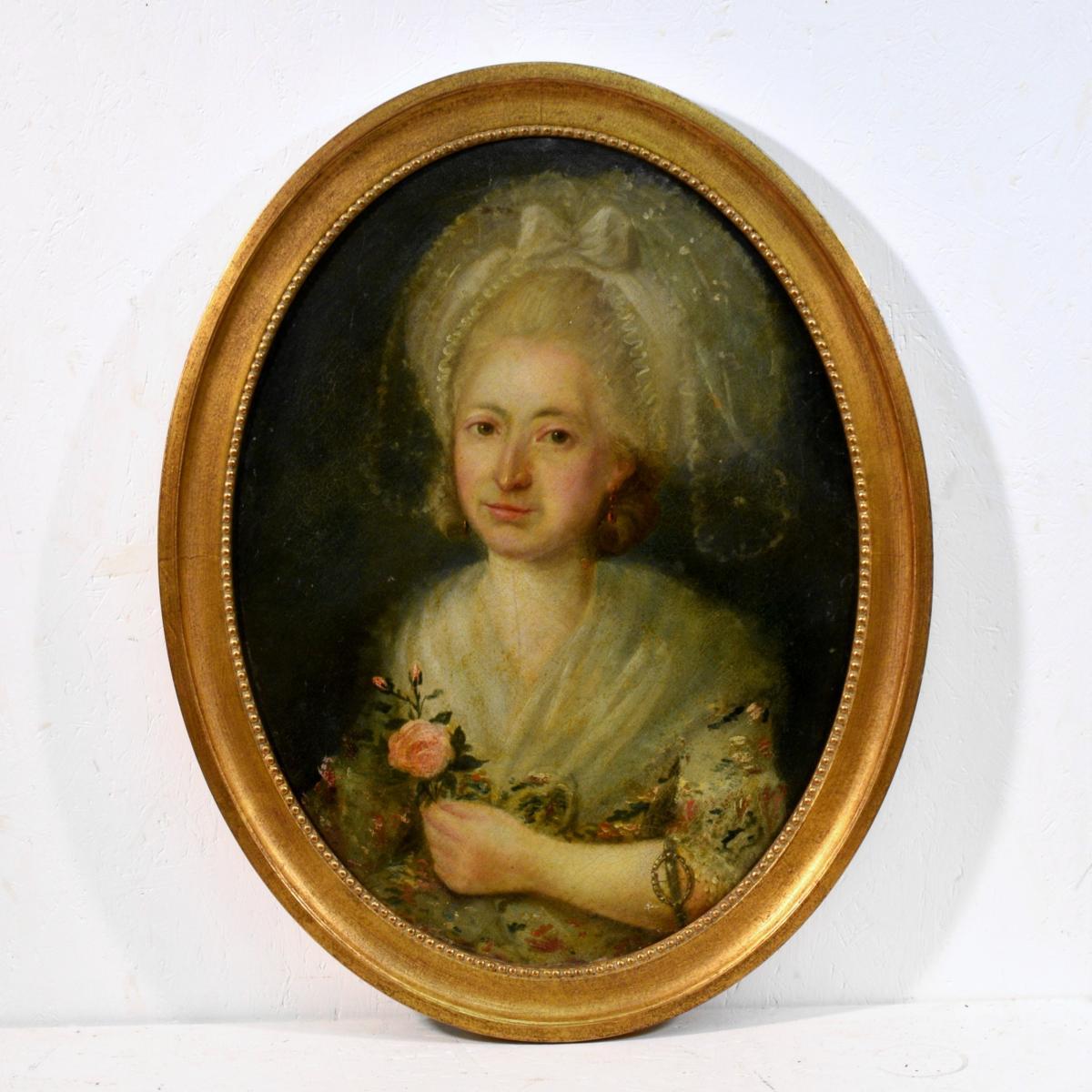 Portrait Jeune Femme à La Rose XVIIIème