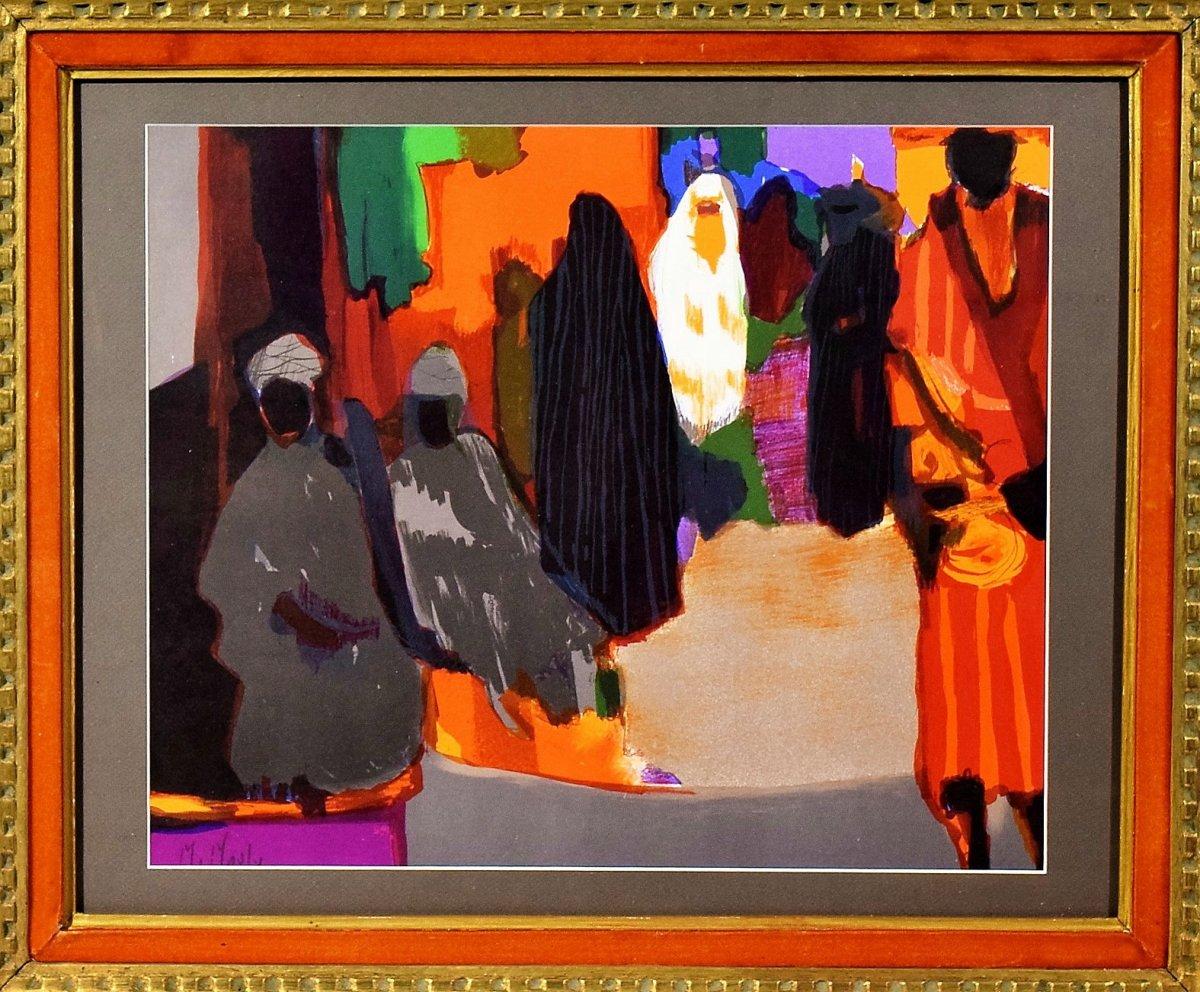 Marcel Mouly Lithographie originale signée Scène de souk-photo-3