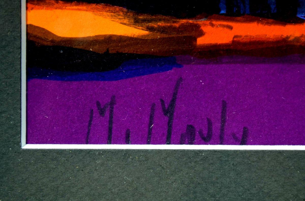 Marcel Mouly Lithographie originale signée Scène de souk-photo-1