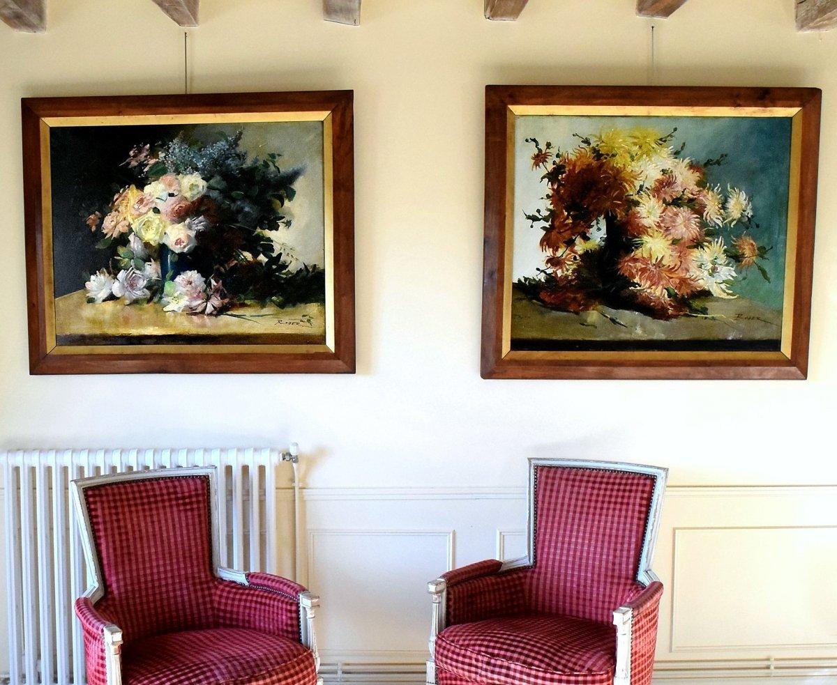 Grande paire de bouquets de fleurs Second Empire XIXè