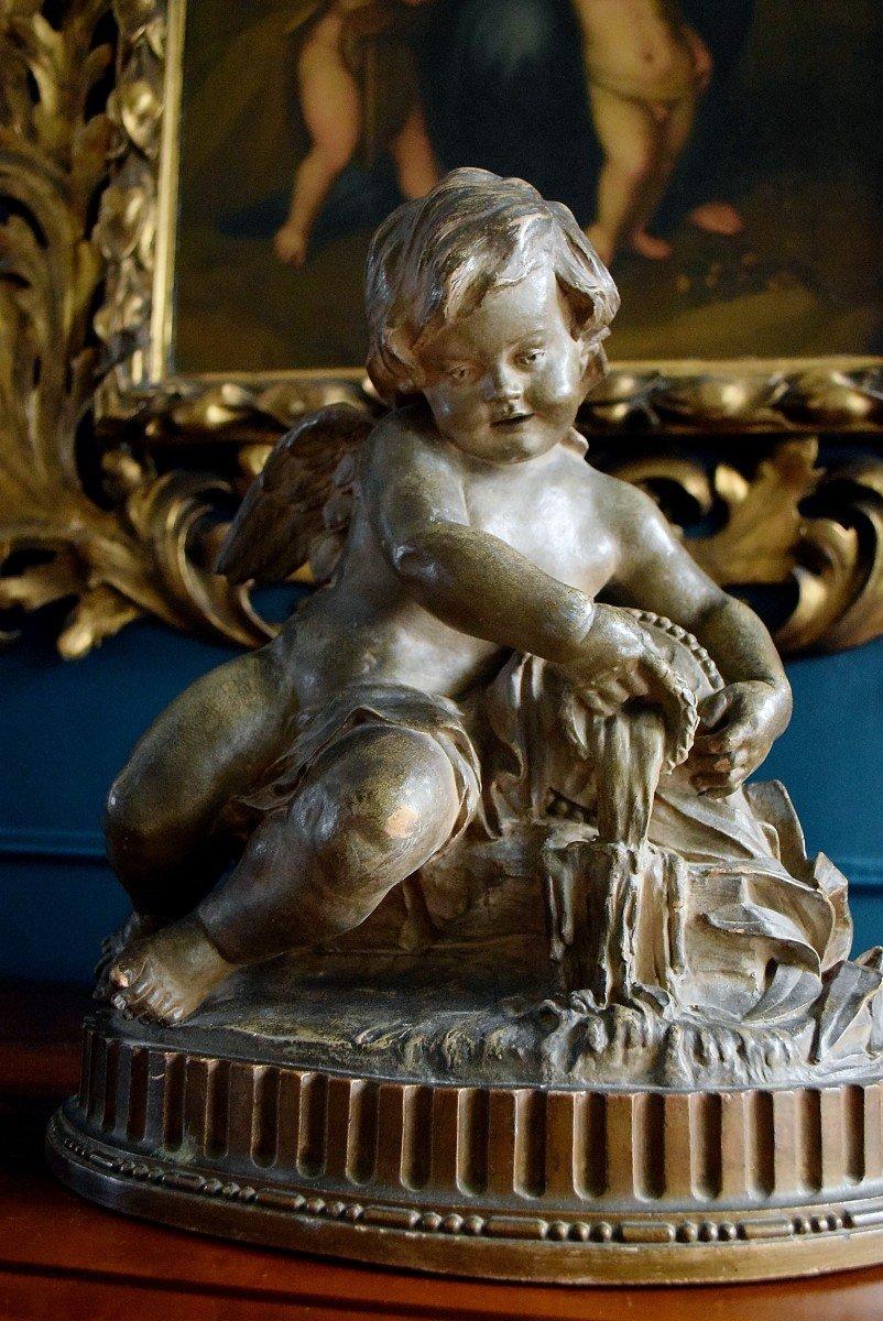 Angelot à la fontaine en terre cuite XIXème-photo-2