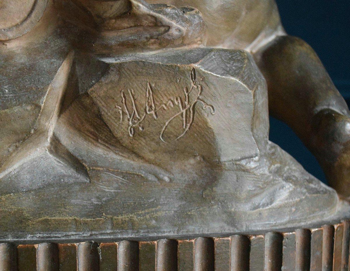 Angelot à la fontaine en terre cuite XIXème-photo-4