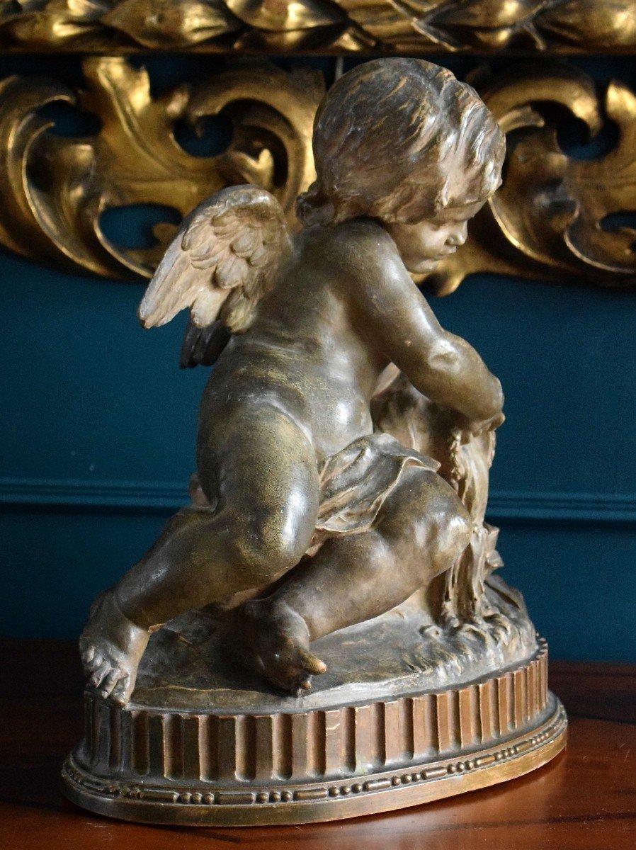 Angelot à la fontaine en terre cuite XIXème-photo-1