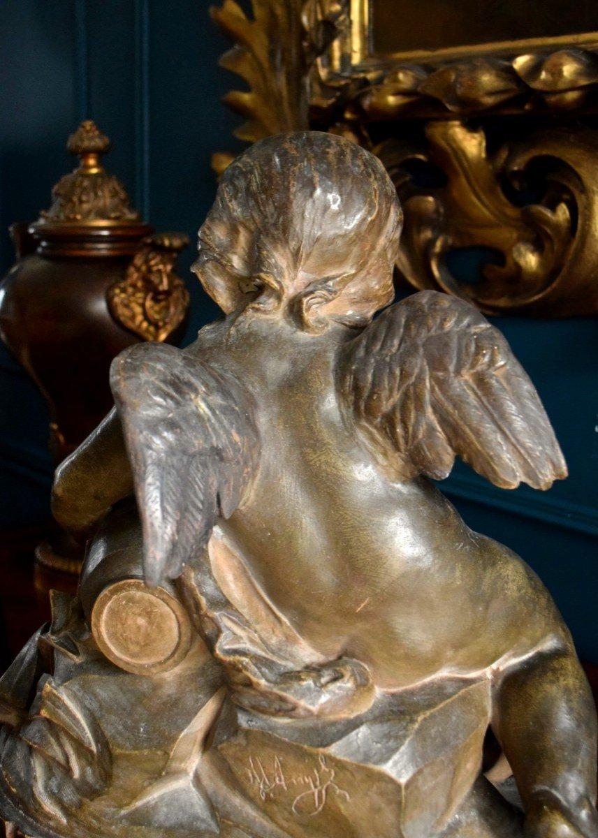 Angelot à la fontaine en terre cuite XIXème-photo-6