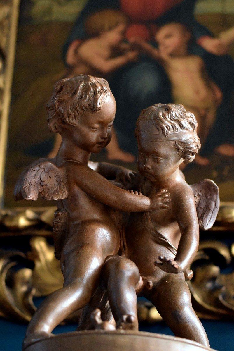 Terre cuite d'après Falconet Deux amours se disputant un cœur -photo-2