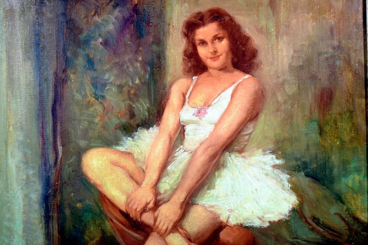 Portrait en pied post-impressionniste d'une danseuse-photo-1