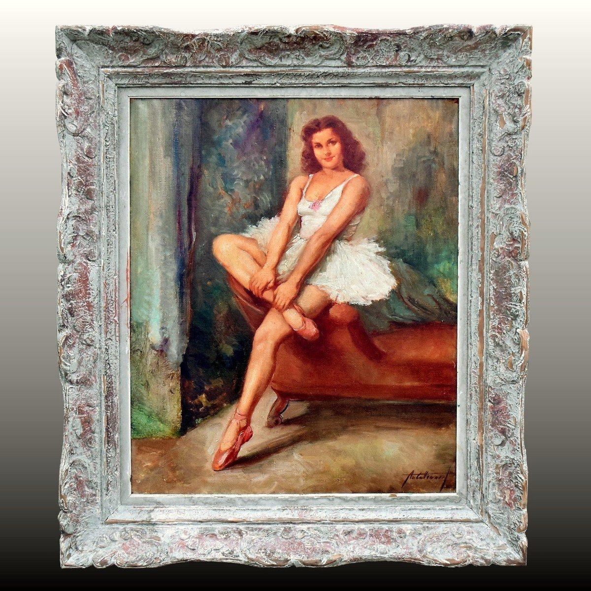 Portrait en pied post-impressionniste d'une danseuse