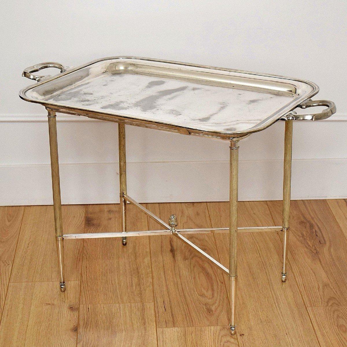 Table d'appoint à plateau amovible Métal argenté