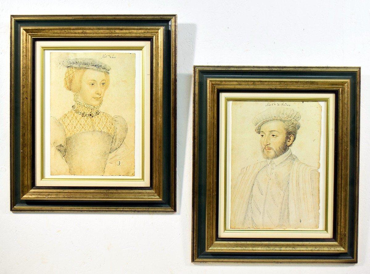 Paire de gravures d'après portraits par François Clouet