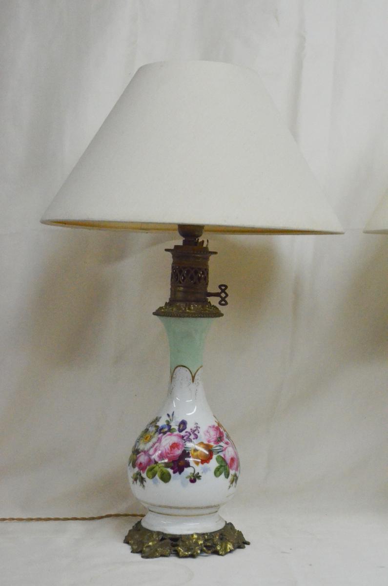 Paire De Lampes En Porcelaine De Paris XIXème-photo-2