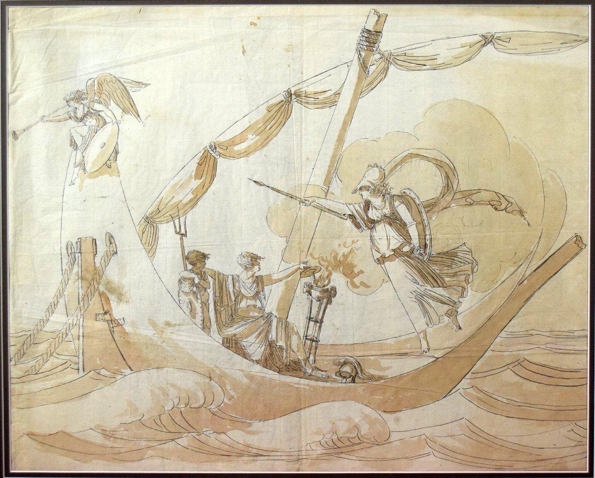 Grand dessin Athena (Minerve) XVIIIème-photo-3