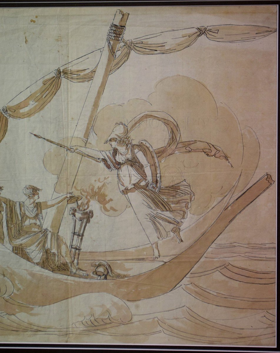 Grand dessin Athena (Minerve) XVIIIème-photo-2