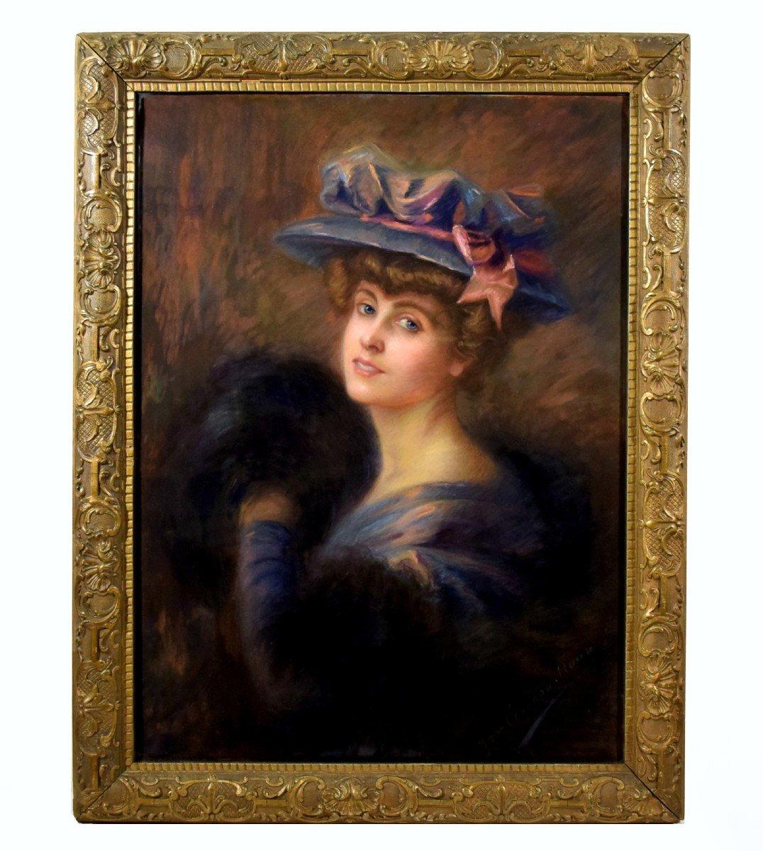 Grand portrait impressionniste d'une élégante Circa 1900