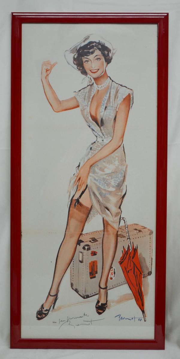 """Poster """"pin-up"""" By Pierre Brenot With Dedication"""