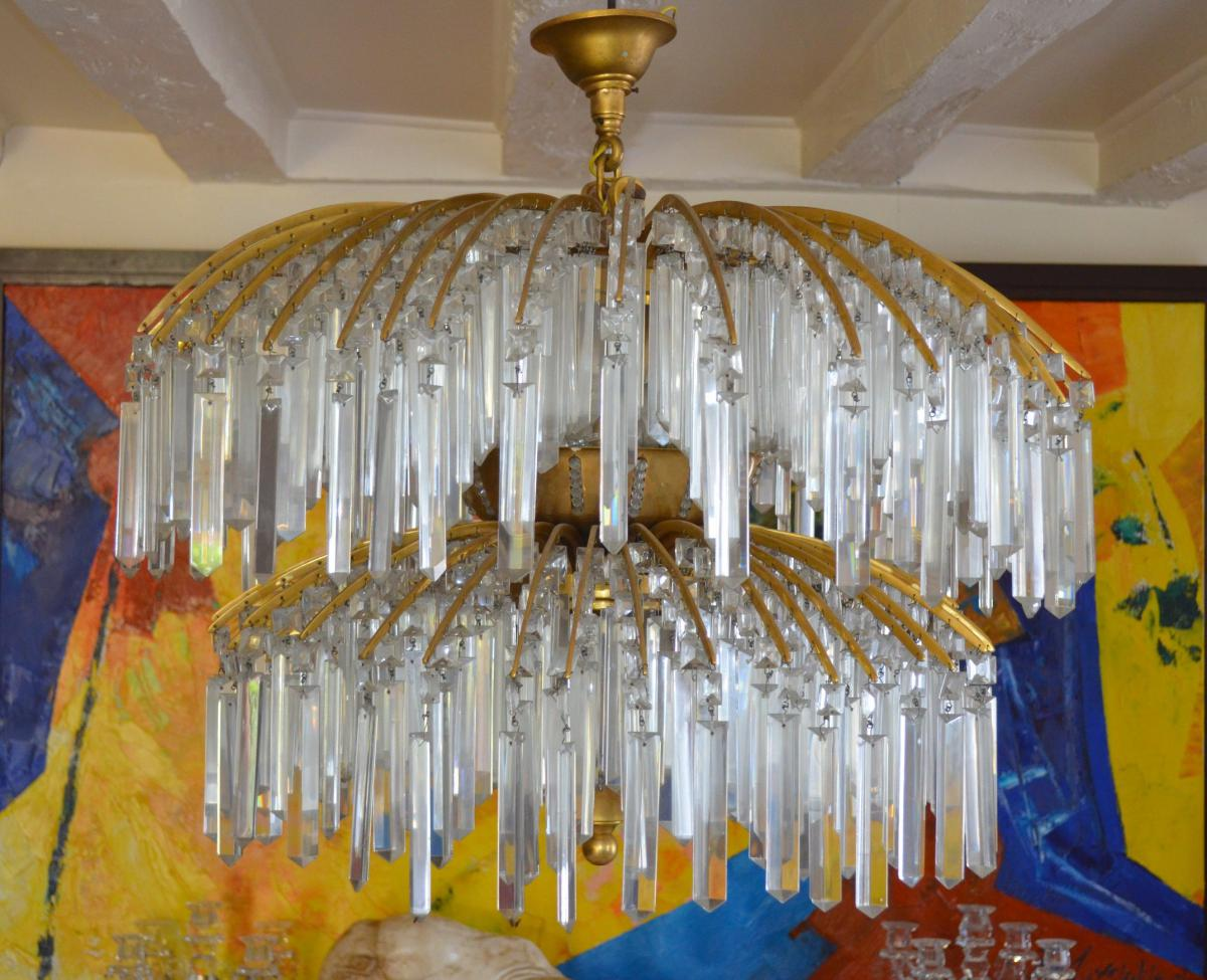 Important Art Deco Bronze Chandelier Crystal And 649 Pampilles