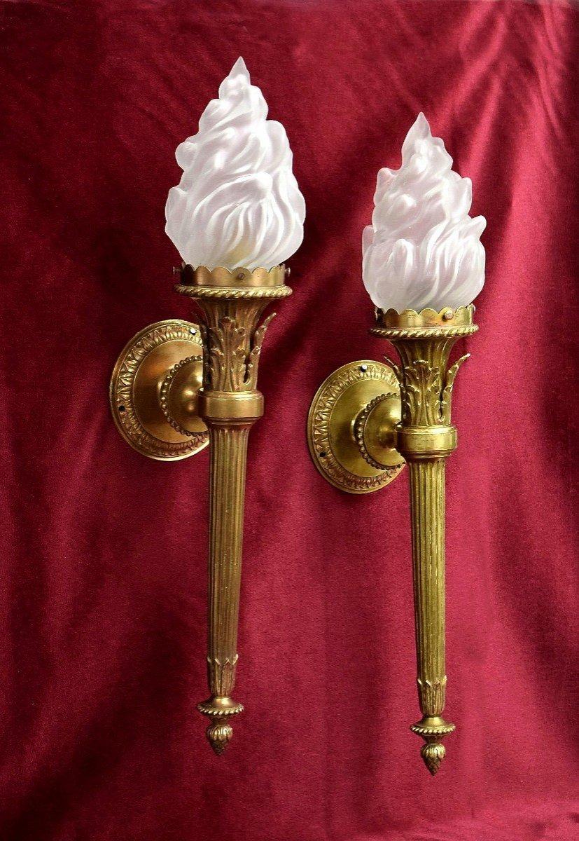 Paire d'appliques flambeaux ou torches bronze XIXème